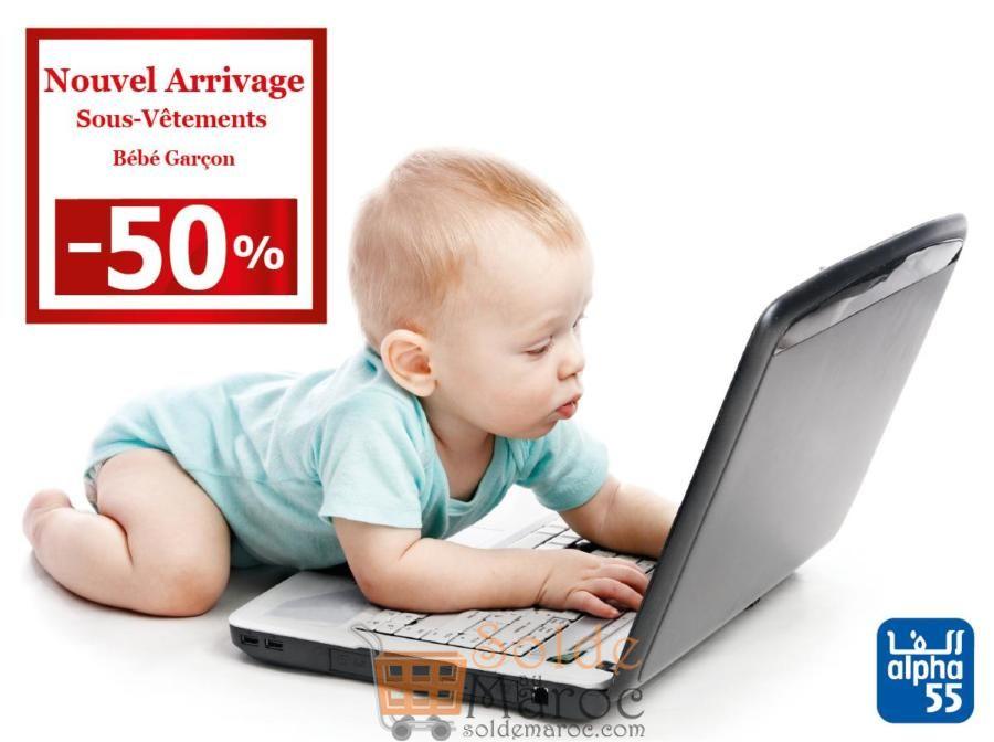 Alpha 55 Nouvel arrivage de sous-vêtements bébé garçon et fille à -50%