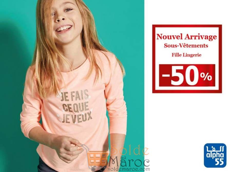 Promo Alpha55 Lingerie  adolescentes 100% coton à partir de 57.5Dhs