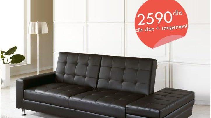 Photo of Promo Azura Home BANQUETTE CLIC CLAC PARDESCA BLANC/Noir 2590Dhs