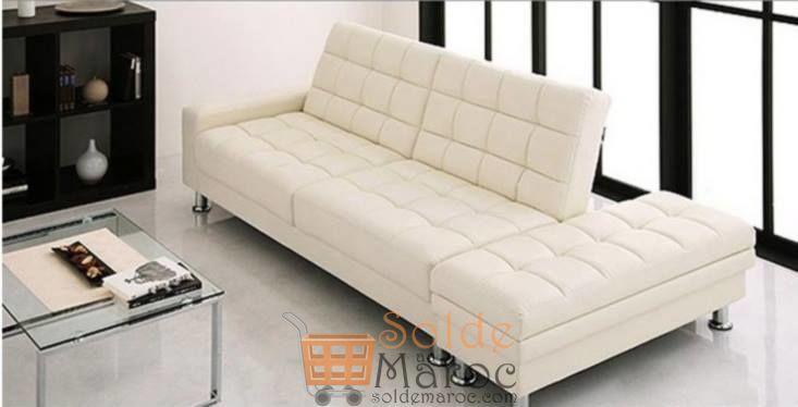 Promo Azura Home BANQUETTE CLIC CLAC PARDESCA BLANC/Noir 2590Dhs au lieu de 2937Dhs
