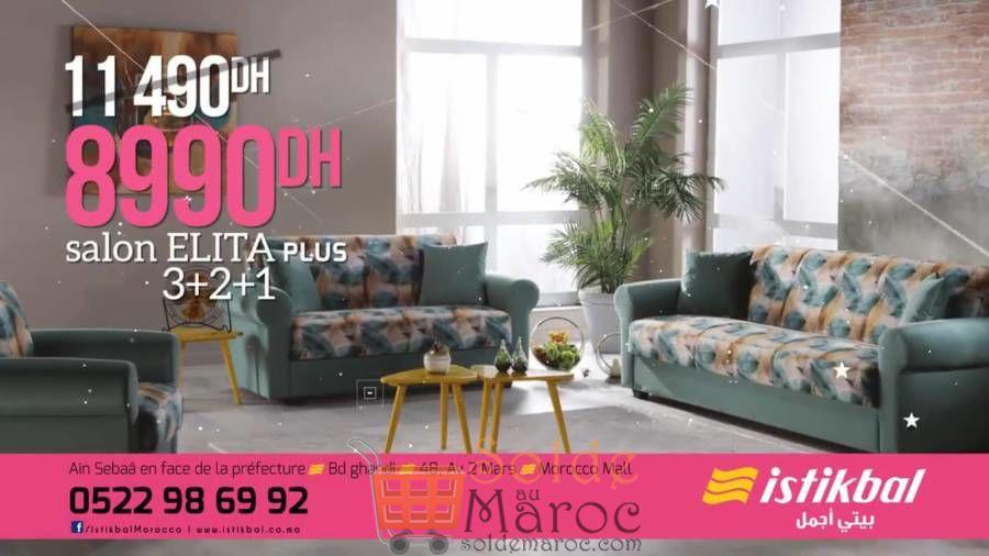 Soldes Istikbal Maroc Salon ELITA Plus 8990Dhs au lieu de 11490Dhs