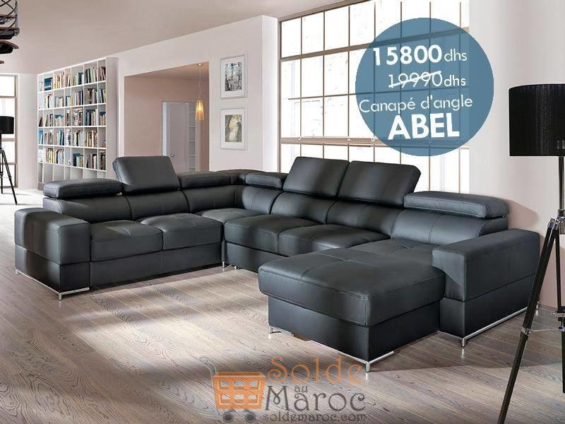 Promo Azura Home CANAPÉ D'ANGLE CONVERTIBLE ABEL 15800Dhs au lieu de 19990Dhs