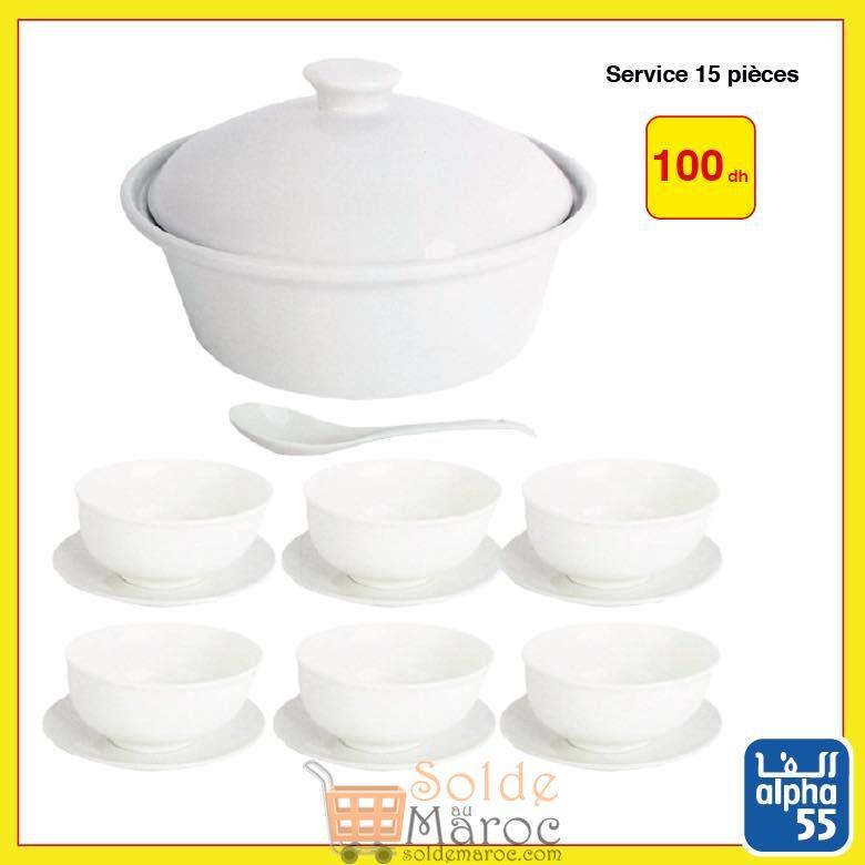 Offre Spéciale Alpha55 Service 15 pièces 100Dhs Soupière, louche, bols et assiettes