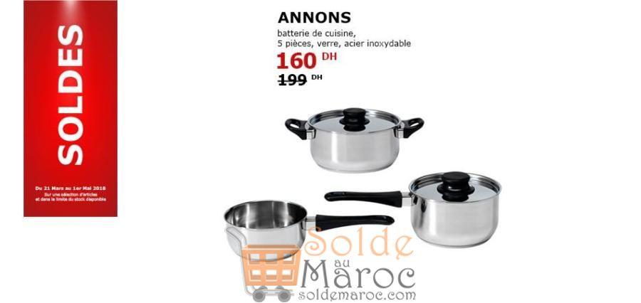 Soldes Ikea Maroc Batterie de cuisine ANNONS 5 pièces 160Dhs au lieu de 199Dhs