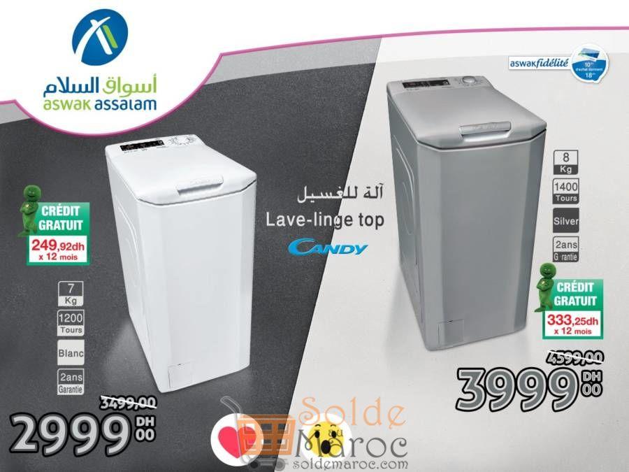 Promo Aswak Assalam Lave-Linge CANDY 8Kg et 7Kg