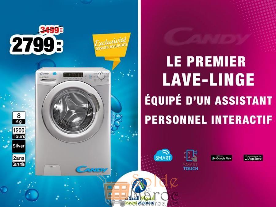 Promo Aswak Assalam Lave-Linge Candy 8Kg 2799Dhs au lieu de 3499Dhs