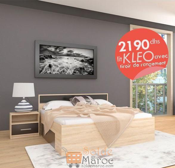 Promo Azura Home LIT KLEO 160 CM AVEC TIROIR DE RANGEMENT 2190Dhs au lieu de 2990Dhs