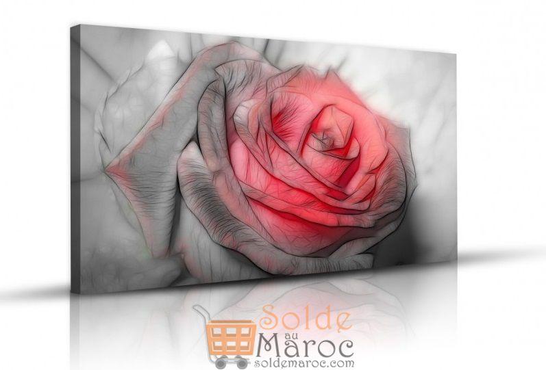 Tableau Beautiful rose drawing imprimé en HD 125Dhs