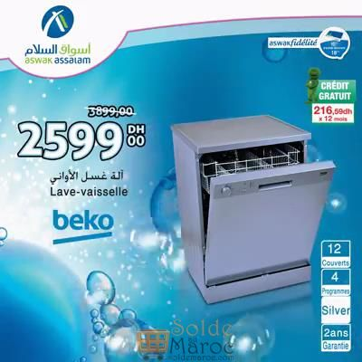 promo aswak assalam lave vaisselle beko 2599dhs au lieu de 3899dhs les soldes et promotions du. Black Bedroom Furniture Sets. Home Design Ideas