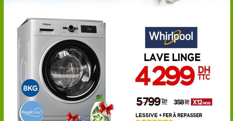 Photo of Promo Electroplanet lave-linge Whirlpool* technologie FreshCare+ 4299Dhs