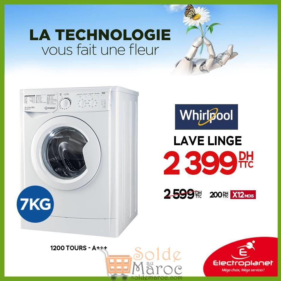 Promo Electroplanet Machine à laver Whirlpool Indesit 2399Dhs au lieu de 2599Dhs