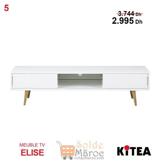 Soldes Kitea Meuble TV ELISE Blanc 2995 au Lieu de 3744Dhs