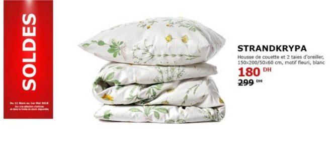 soldes ikea maroc housse de couette et 2 taies d oreiller motif fleur 180dhs les soldes et. Black Bedroom Furniture Sets. Home Design Ideas