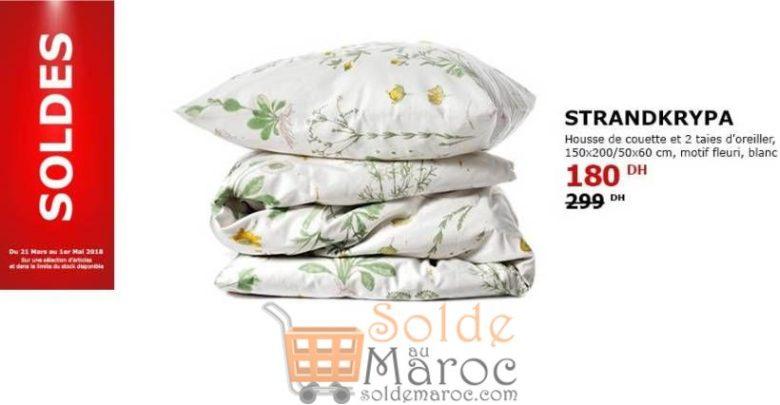 Photo of Soldes Ikea Maroc Housse de Couette et 2 Taies d'Oreiller Motif Fleur 180Dhs