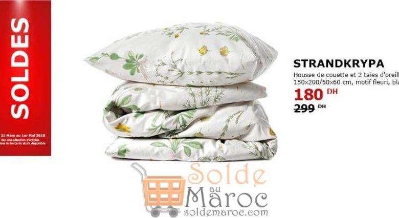 Soldes Ikea Maroc Housse de Couette et 2 Taies d'Oreiller Motif Fleur 180Dhs au lieu de 299Dhs