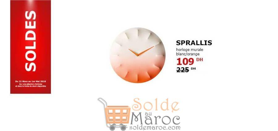 Soldes Ikea Maroc Horloge Murale SPRALLIS 109Dhs au lieu de 225Dhs