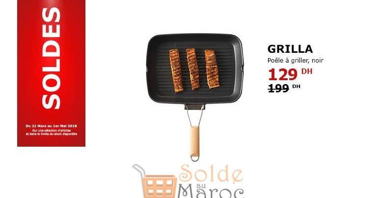 Photo of Soldes Ikea Maroc Poêle à Griller Noir GRILLA 129Dhs