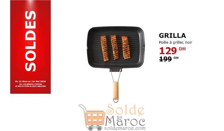 Soldes Ikea Maroc Poêle à Griller Noir GRILLA 129Dhs au lieu de 199Dhs