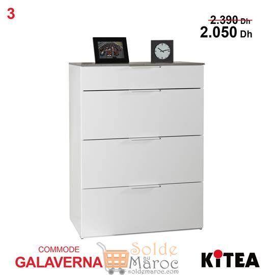 Soldes Kitea Commode GALAVERNA 3+1 tiroirs 2050Dhs au lieu de 2390Dhs