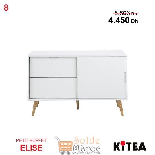 Soldes Kitea Petit buffet ELISE Couleur blanc 4450Dhs au lieu de 5563Dhs