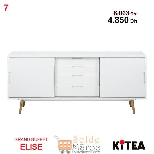 Soldes Kitea Grand buffet ELISE Couleur blanc 4850 au lieu de 6063Dhs