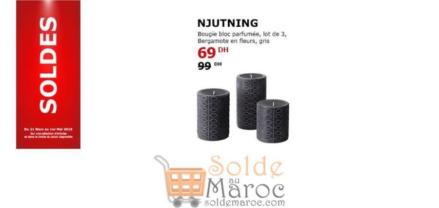 Soldes Ikea Maroc Bougie Bloc Parfumée Bergamote ne fleurs Gris 69Dhs au lieu de 99Dhs