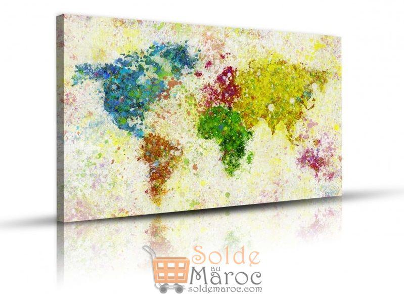 Promo Massinart Tableau Painting of world map imprimé en HD 175Dhs au Lieu de 219Dhs