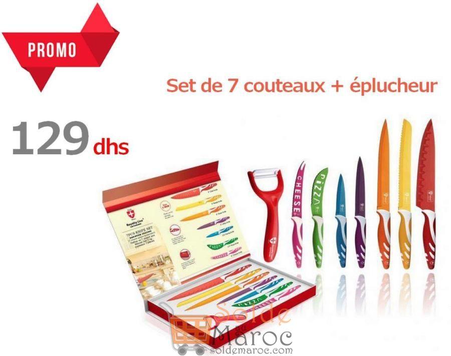 Promo Azura Home Set de 7 couteaux + éplucheur 129Dhs