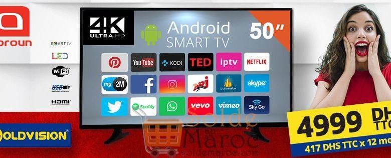 Photo of Offre Spéciale Abroun Smart TV GOLDVISION 50″ Récepteur HD + IPTV 4999Dhs