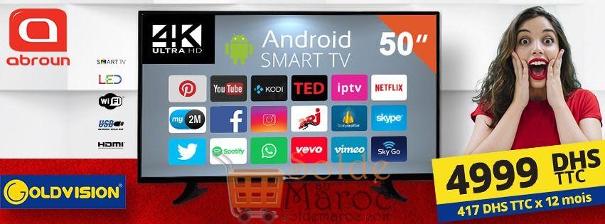 """Offre Spéciale Abroun Smart TV GOLDVISION 50"""" Receteur HD + IPTV 4999Dhs"""