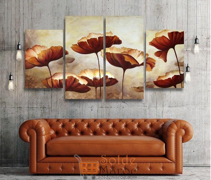 Promo MAssinart Tableau décoratif Elegant Slim Flowers imprimé en HD 476Dhs au lieu de 529Dhs