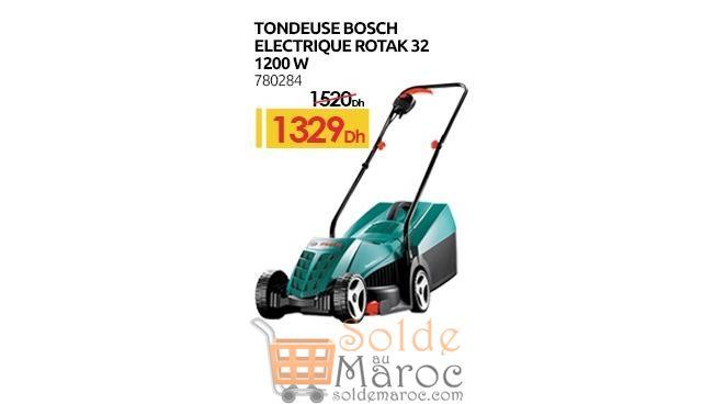 Promo Mr Bricolage Maroc Tondeuse Bosh Electrique ROTAK 1329Dhs