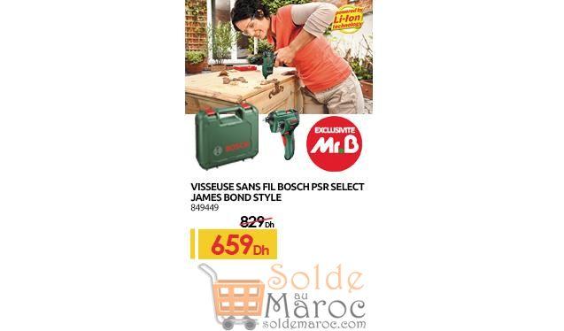 Promo Mr Bricolage Maroc Visseuse Sans fil Bosch 659Dhs au lieu de 829Dhs