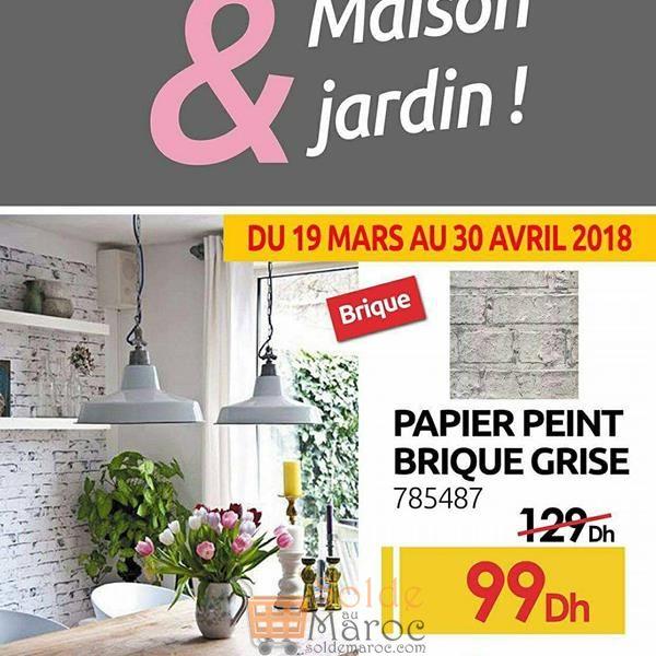 Promo Mr Bricolage Maroc Papier peint Brique Grise 99Dhs au lieu de 129Dhs