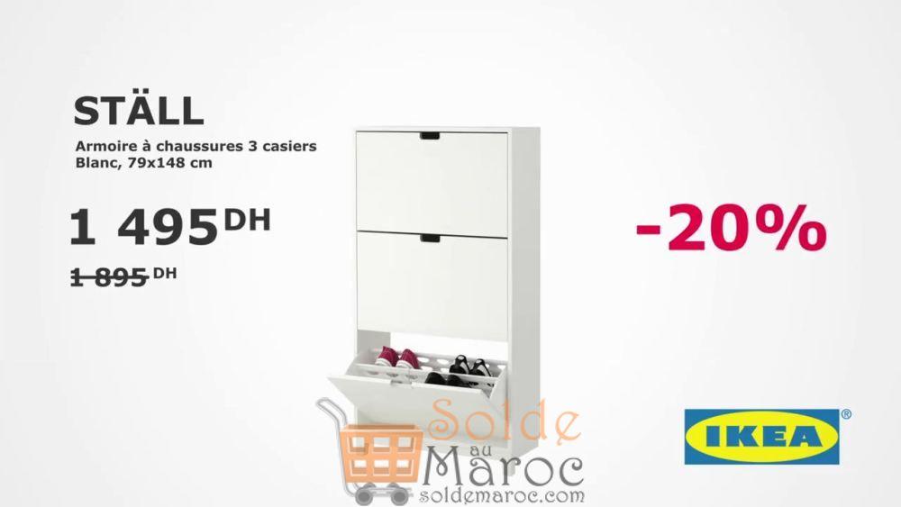 Soldes Ikea Maroc Armoire à chaussures 3 Casiers Blanc 1495Dhs au lieu de 1895Dhs