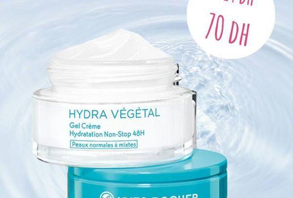 Promo Yves Rocher Maroc Gel crème hydratation non-stop 48H pot 50ML 70Dh au lieu de 119Dhs