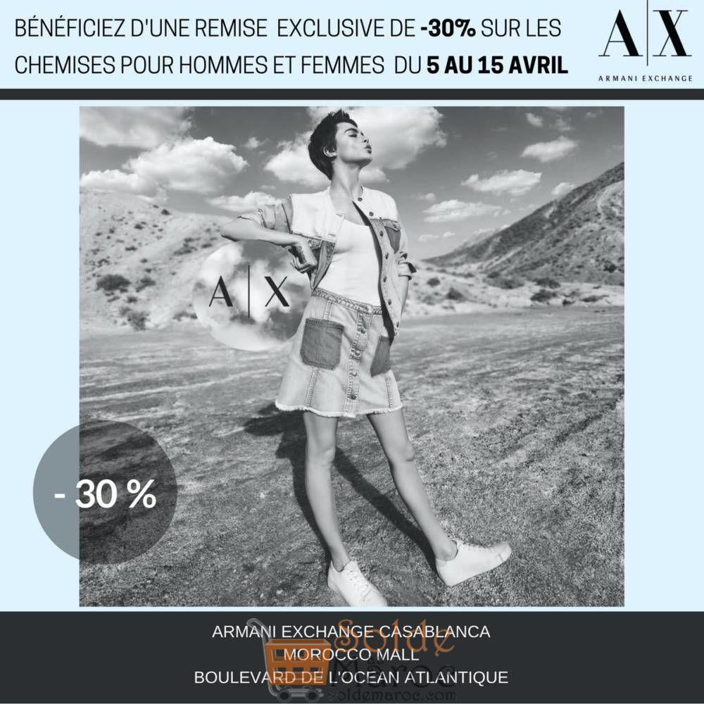 Promo Armani Exchange -30% Chemises Hommes femmes jusqu'au 15 Avril 2018