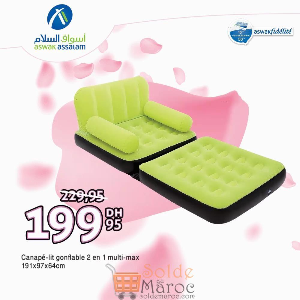 Promo Aswak Assalam Canapé-Lit Gonflable 2 en 1 Multi-max 199Dhs au lieu de 229Dhs