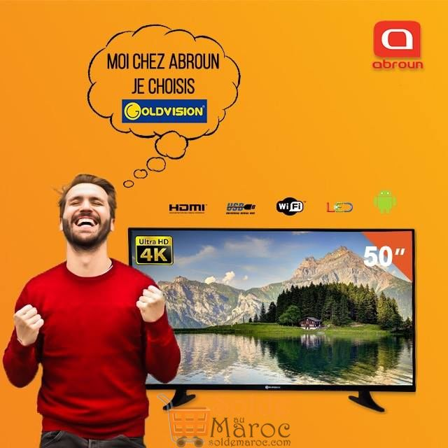"Promo Abroun Electro Smart Tv GOLDVISION 55"" ULTRA HD 4K 5990 Dhs"