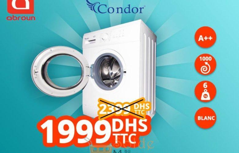 Promo Abroun Electro Lave linge Condor 6Kg 1999Dhs au lieu de 2399Dhs