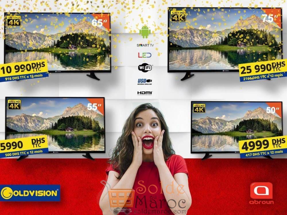 Offre Spéciale Abroun Electro Smart TV 4K Goldvision