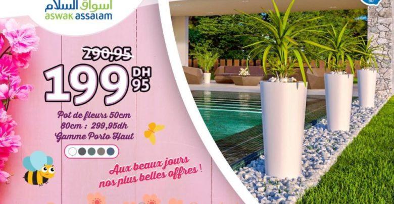 Promo Aswak Assalam Pot de Fleurs 50cm 199Dhs au lieu de 290Dhs