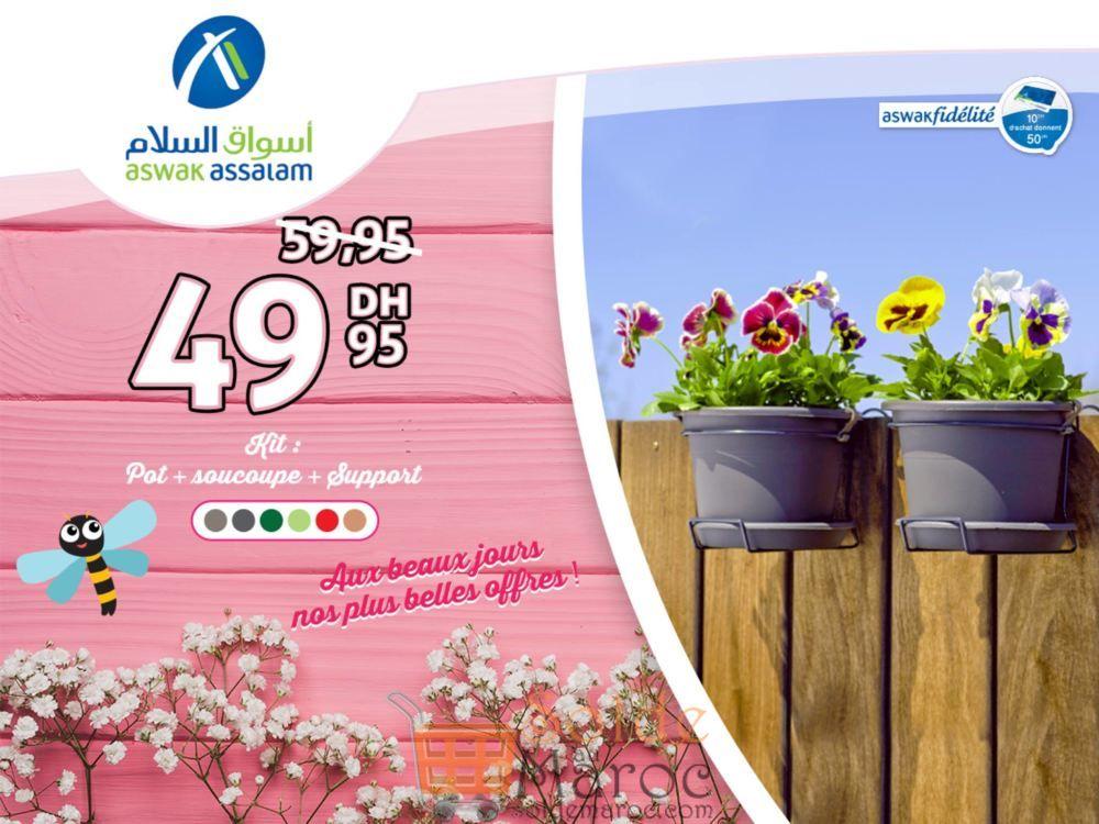 Promo Aswak Assalam Kit Pot Soucoupe et Support 49Dhs au lieu de 59Dhs