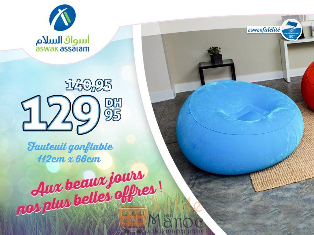 Promo Aswak Assalam Fauteuil gonflable 129Dhs au lieu de 140Dhs