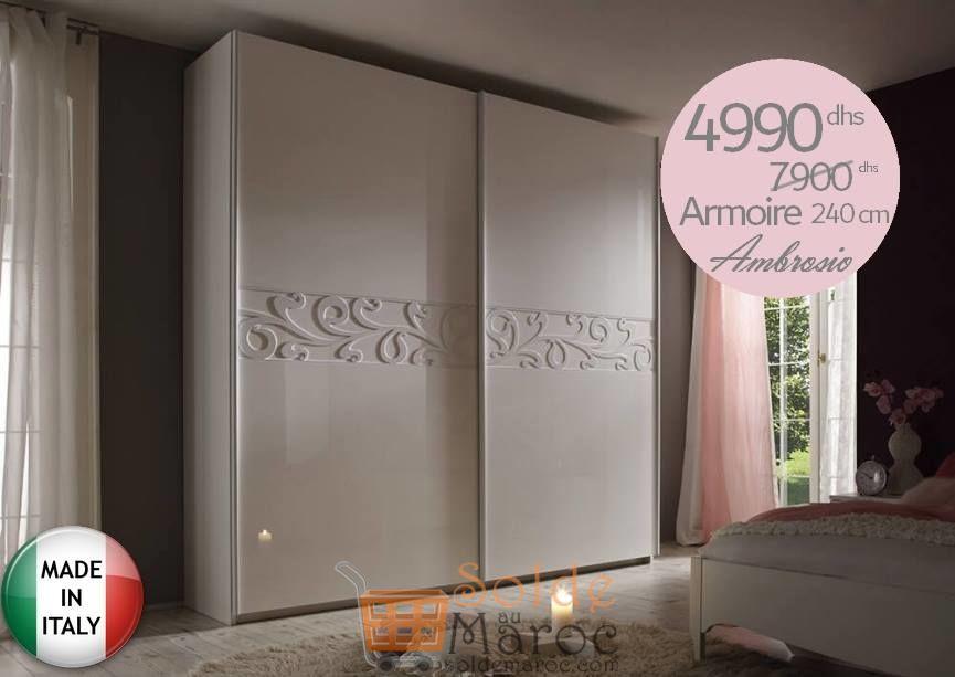 Promo Azura Home Armoire AMBROSIO 240 cm 4990Dhs au lieu de 7900Dhs