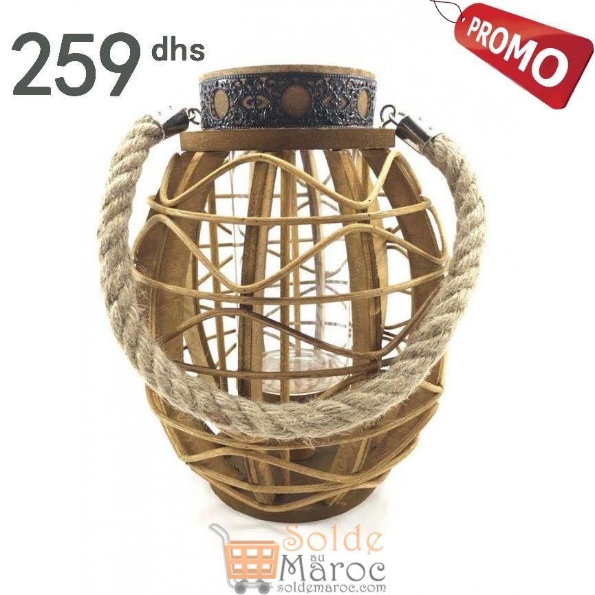 Promo Azura Home LANTERNE EN VERRE ET BOIS A CORDE CHARM 259Dhs au lieu de 437Dhs