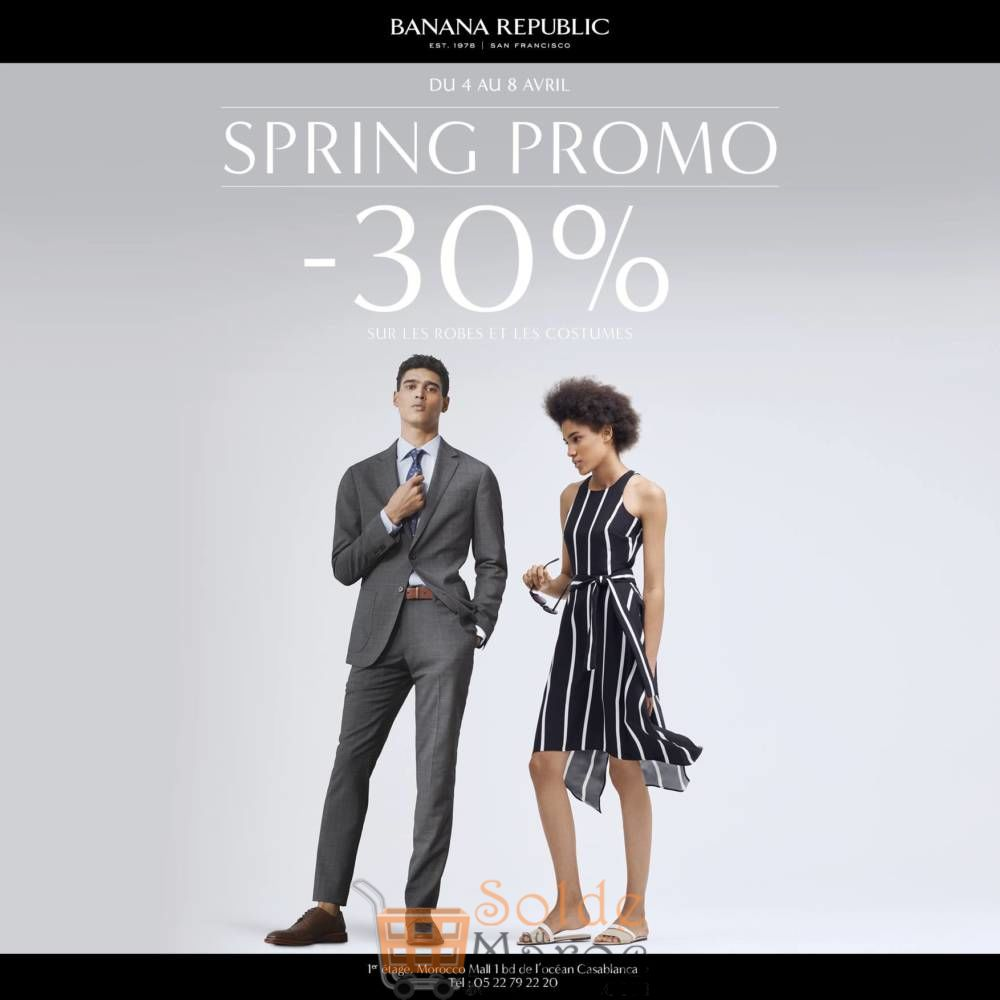 Spring Promo -30% Robes et Costumes chez Banana Republic jusqu'au 8 Avril 2018