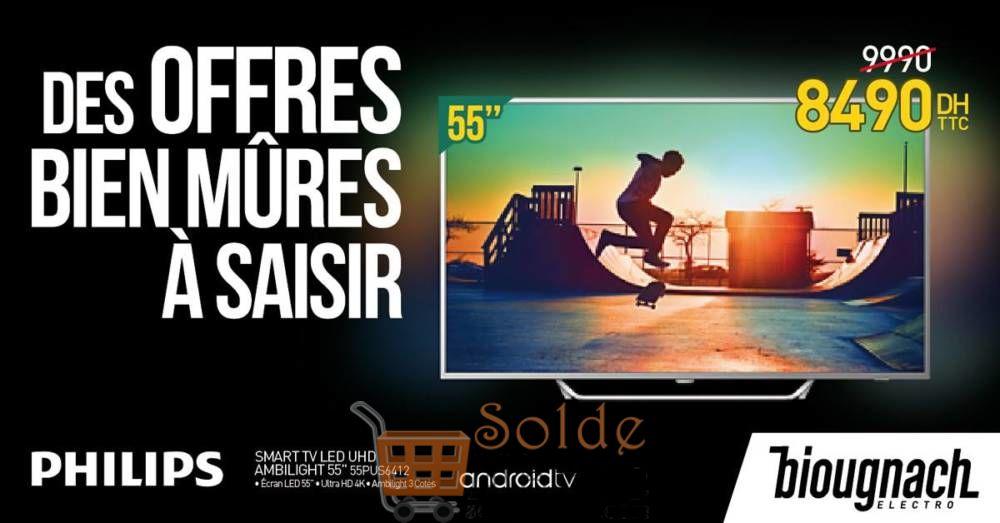 Promo Biougnach Smart TV 55 Pouces Ultra HD 4K Ambilight 3 Cotés Android 8490Dhs au lieu de 9990Dhs
