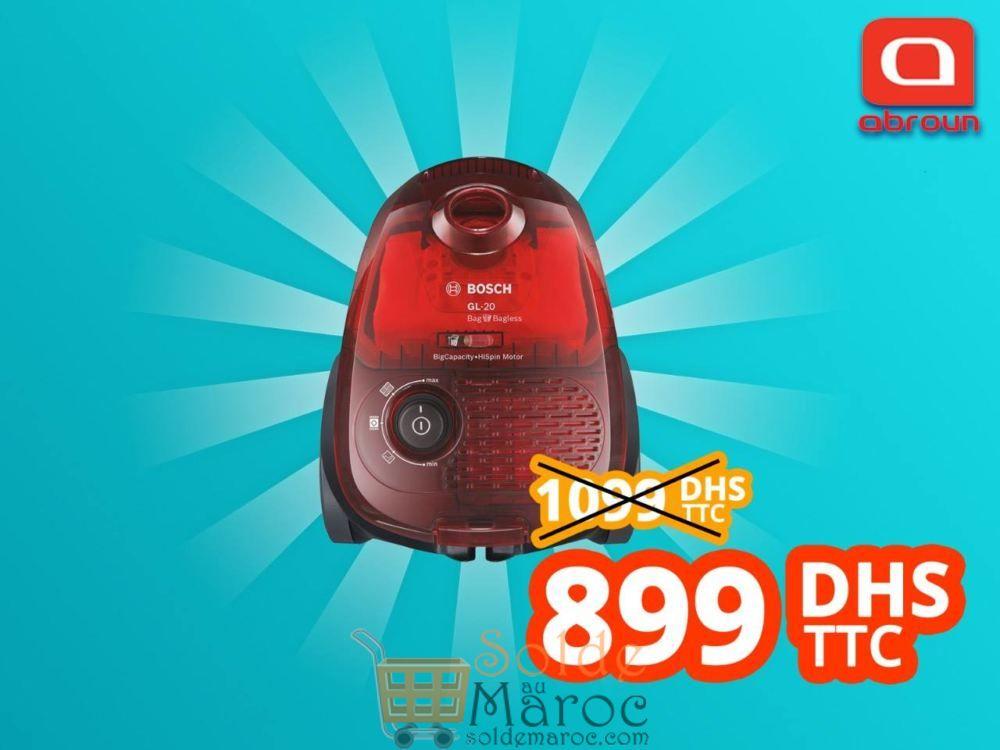 Promo Abroun Electro Aspirateur Bosch GI-20 avec/sans Sac Rouge Translucide 899Dhs au lieu de 1099Dhs