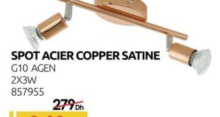 Promo Mr Bricolage Maroc Spot Acier Copper Satine 249Dhs au lieu de 279Dhs
